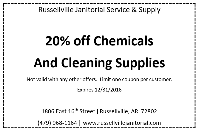 Russellville Janitorial Service & Supply save 20% on chemical products