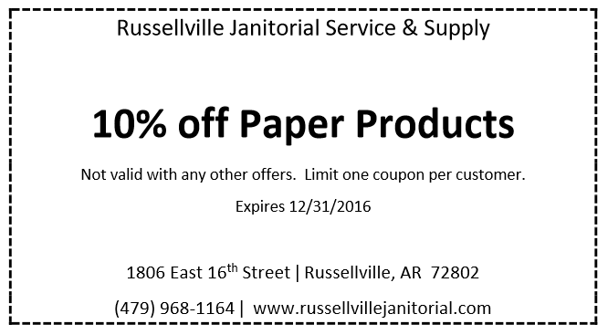 Russellville Janitorial Service & Supply save 10% on paper products
